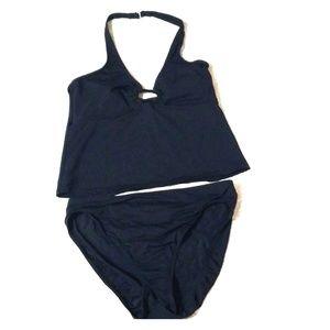 ANNE COLE Black Halter Swimsuit Bikini Bottom